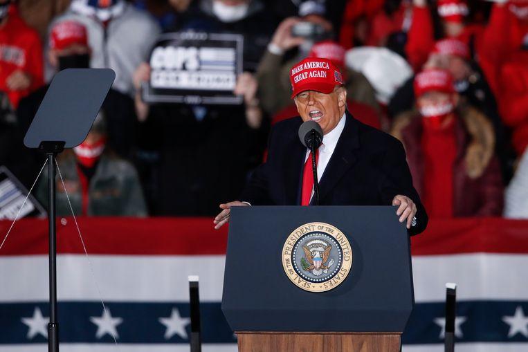 Donald Trump afgelopen weekend op campagne in Wisconsin. Beeld EPA