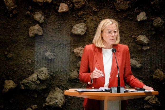 Sigrid Kaag (D66) tijdens het debat over het eindverslag van informateur Mariette Hamer over het vastgelopen formatieproces.