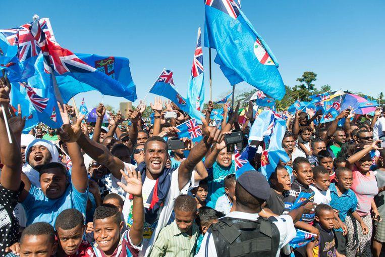 De gouden medaille in rugby sevens voor Fiji leidde tot massale vreugdetaferelen op het kleine eiland. Het was de eerste medaille in hun olympische geschiedenis. Beeld AFP