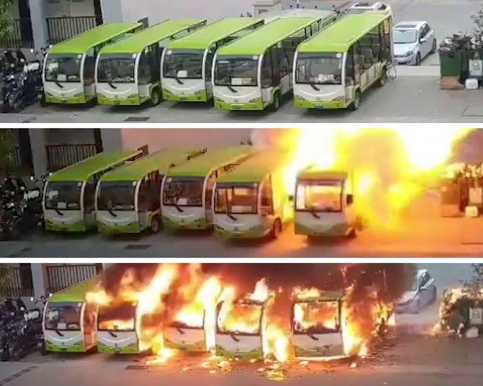 Un bus électrique prend feu lors de son rechargement en Chine.