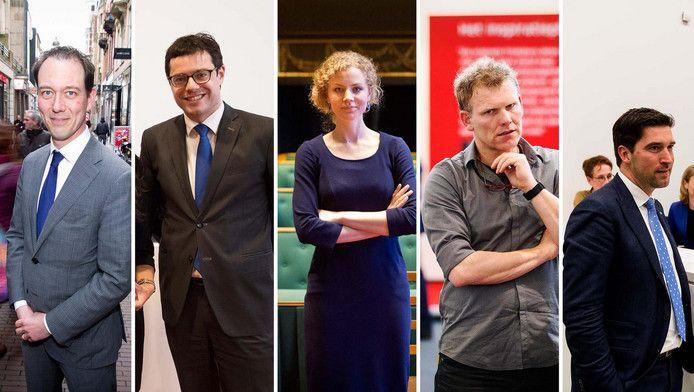 De (beoogde) Haagse lijsttrekkers op een rij: Boudewijn Revis (VVD), Karsten Klein (CDA), Christine Teunissen (PvdD), Joris Wijsmuller (HSP) en Robert van Asten (D66).
