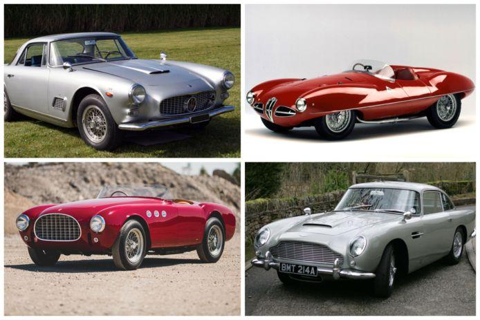 Van links naar rechts: Maserati 3500 GT - Alfa Romeo Disco Volante (boven) en Ferrari 225 S - Aston Martin DB5 (onder)