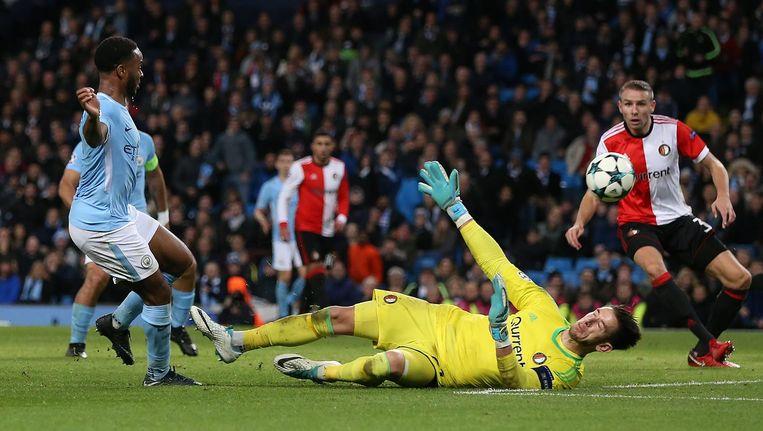 Manchester City-speler Raheem Sterling maakt het enige doelpunt in de wedstrijd tegen Feyenoord. Beeld epa