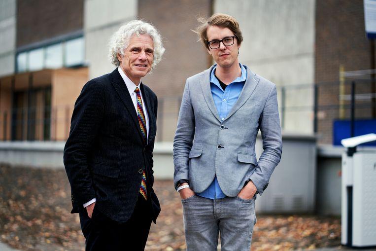 Steven Pinker en Maarten Boudry. Beeld Joris Casaer