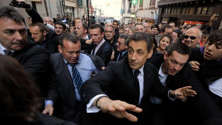 De Franse president Nicolas Sarkozy tijdens zijn bezoek aan Bayonne. Beeld REUTERS