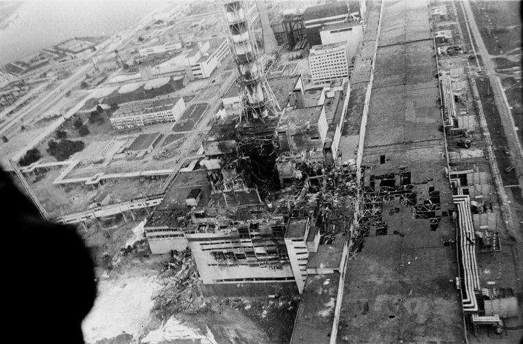 Beelden van de kerncentrale vlak na de ramp in Tsjernobyl.  Beeld AP
