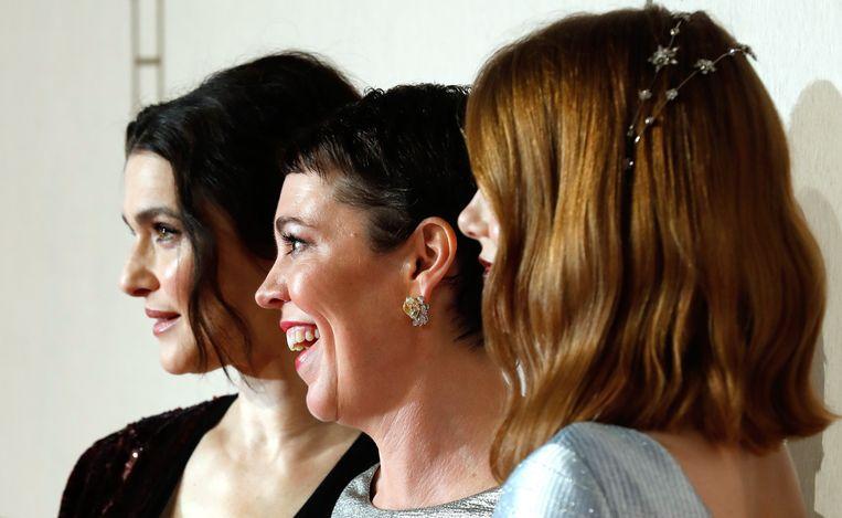 Rachel Weisz, Olivia Colman en Emma Stone, de sterren van het gelauwerde 'The Favourite'. Beeld Photo News