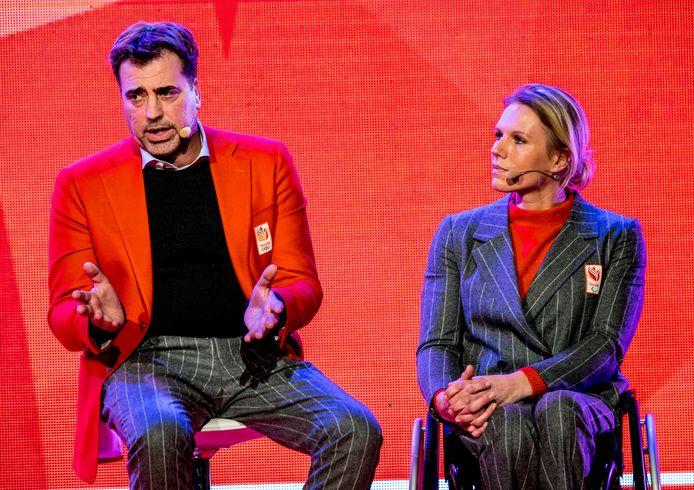Chef de mission van de Olympische en de Paralympische ploeg, Jeroen Bijl en Esther Vergeer.