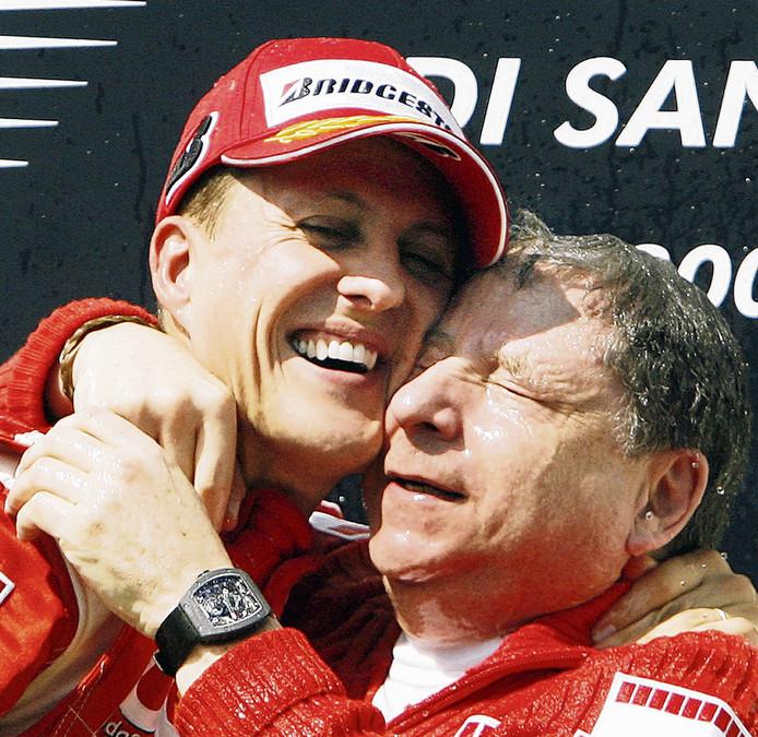 Michael Schumacher en Jean Todt op archiefbeeld.
