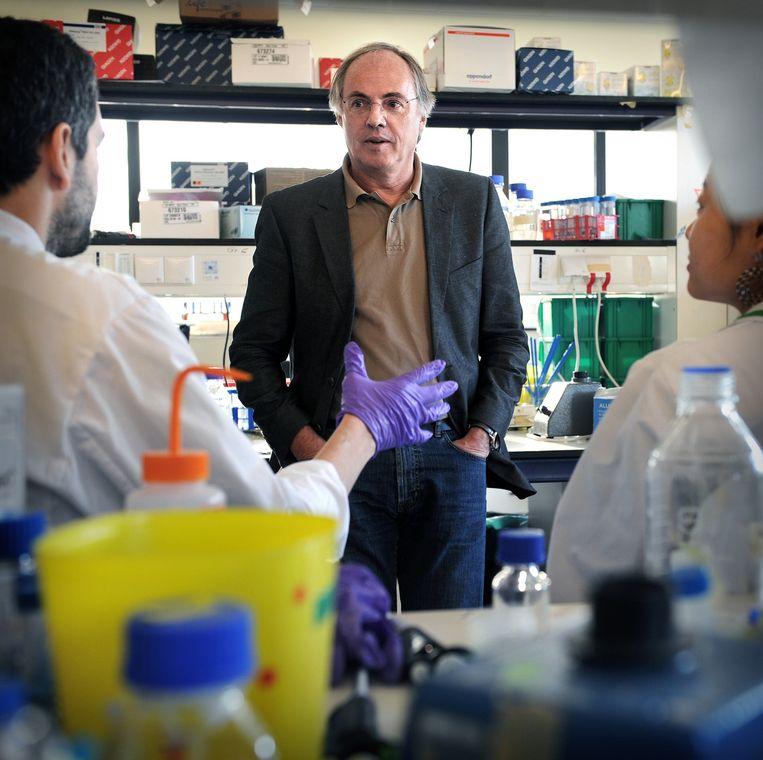 Hans Clevers in een lab in overleg op Hubrecht Instituut. Beeld Marcel van den Bergh / de Volkskrant