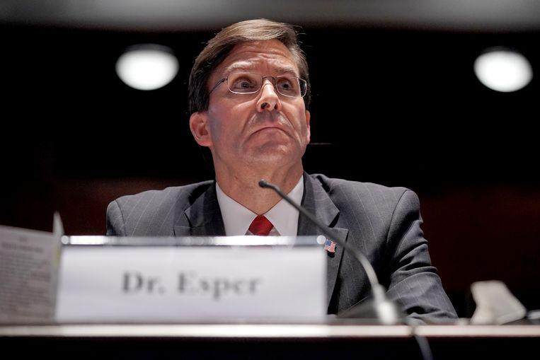 De Amerikaanse minister van Defensie Mark Esper. Beeld Hollandse Hoogte/AFP