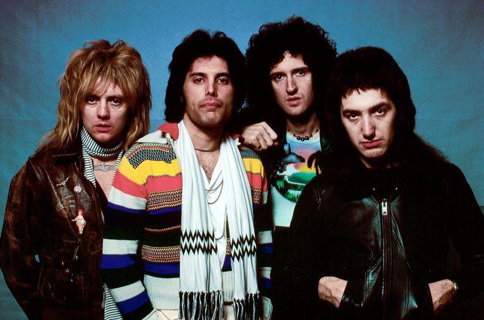 Roger Taylor, Freddie Mercury, Brian May en John Deason