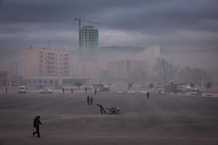 Een plein in de Noord-Koreaanse stad Rason, in het grensgebied met China en Rusland. China is Noord-Korea's belangrijkste handelspartner. Beijing zit niet te springen op nieuwe sancties tegen Pyongyang.