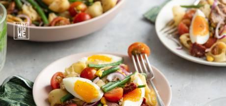 Wat Eten We Vandaag: tonijnpasta met haricots verts, maïs en cherrytomaten