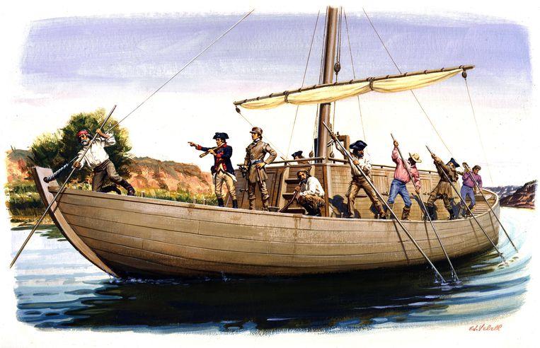 Een schilderij van ontdekkingsreizigers Meriwether Lewis en William Clark in hun kielboot op de Missouri-rivier, in mei 1804. Beeld Getty Images