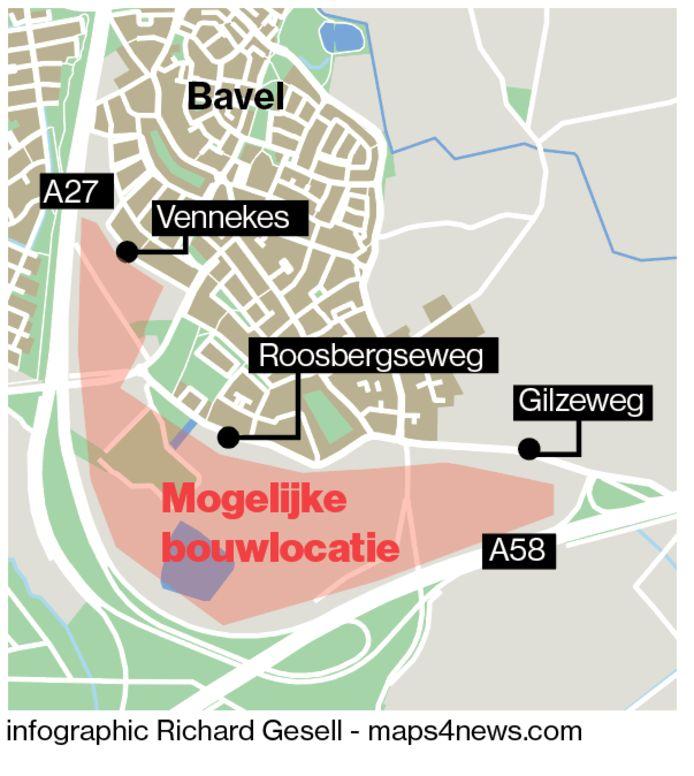 De groene buffer tussen dorp Bavel en de snelwegen A27 en A58 is in beeld voor woningbouw en bedrijven.