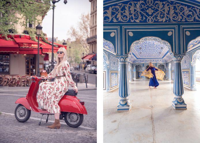 À Paris, Sarah a utilisé une Vespa comme accessoire, à Jaipur un foulard.