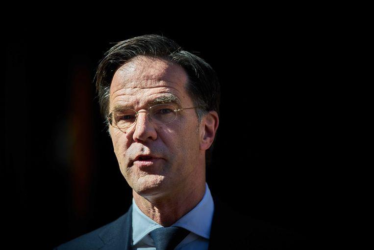 Mark Rutte spreekt op vrijdag met de pers na afloop van de ministerraad. Beeld EPA