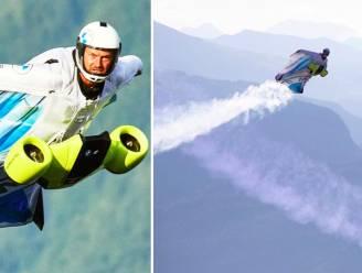 Man vliegt tegen 300 km/uur met elektrisch aangedreven wingsuit