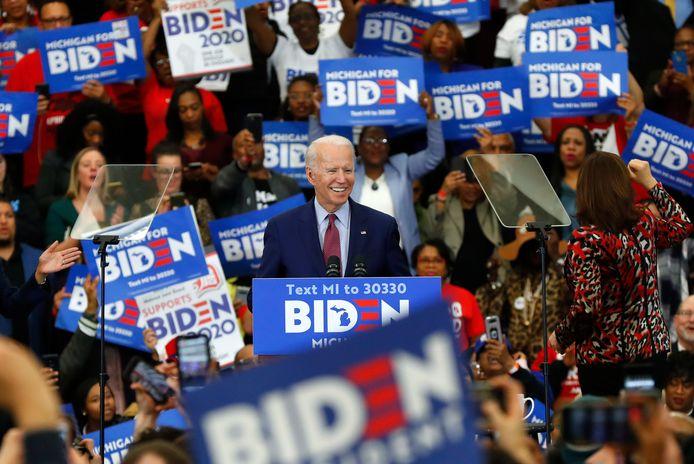 Joe Biden in maart tijdens  een bezoek aan Detroit.