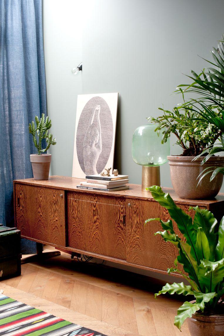 'In het stadse leven moet je een beetje verbinding houden met de natuur, vind ik. Ik hou ervan om planten in huis te hebben. Ze staan overal, ook in de badkamer.' Beeld Anke Leunissen