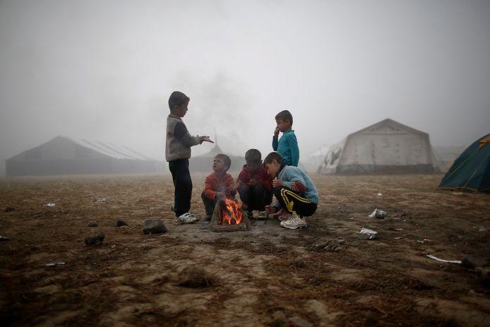 Yezidi-kinderen in een vluchtelingenkamp in Griekenland (Illustratiebeeld).