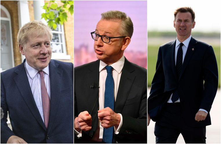 Boris Johnson, Michael Gove en Jeremy Hunt worden als de drie grootste kanshebbers voor de post van premier gezien. Beeld PhotoNews/Reuters/EPA