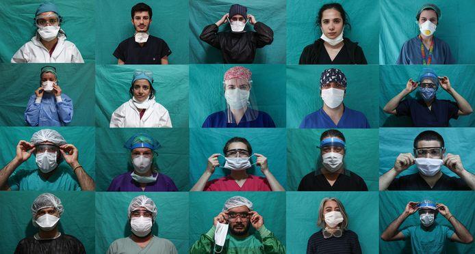 Verplegers van het Sisli Hamidiye Etfal ziekenhuis in Istanbul.
