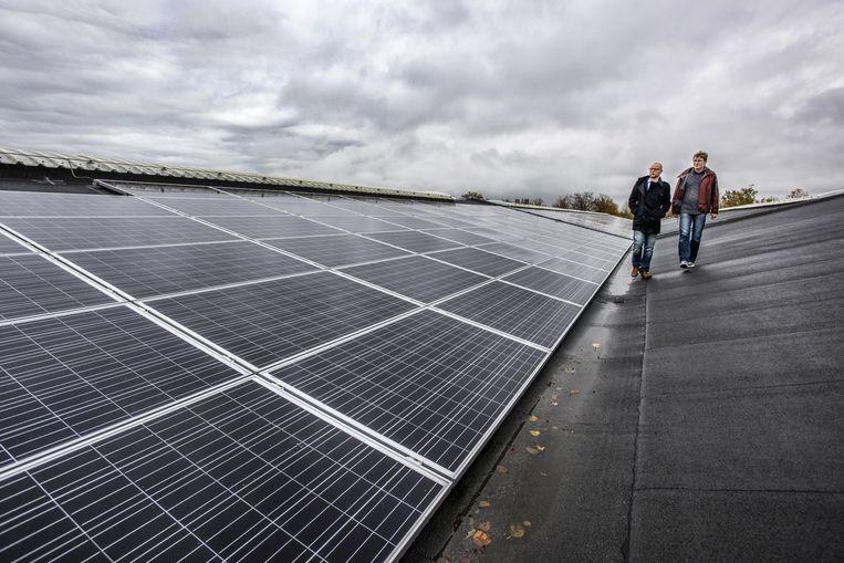 Vrijwilligers op het dak van de Fablo Tennishal in Haarlem waar zonnepanelen zijn geplaatst. Beeld Raymond Rutting / de Volkskrant