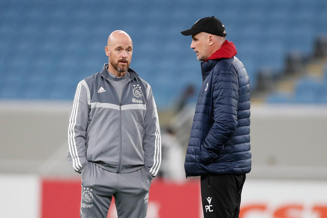 Philippe Clement en Ajax-coach Erik Ten Hag.
