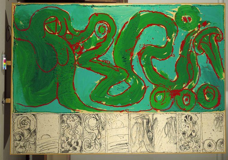 CoBrA de transmission (1968) van Pierre Alechinsky. Beeld © SABAM, photo Mixed Media