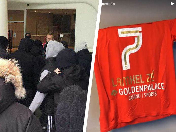 Terwijl Lamkel Zé zich voorbereidde voor de beloftenwedstrijd, moest Ritchie De Laet een groepje fans tot bedaren brengen.