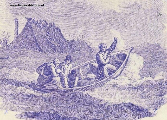 De dijkdoorbraak in 1757.