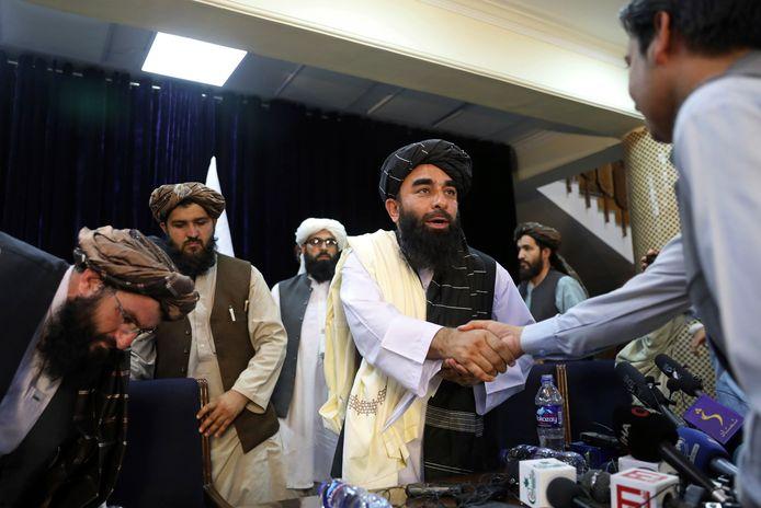 Woordvoerder van de taliban, Zabihullah Mujahid.