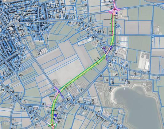 Groen is het globale tracé van de nieuwe rondweg om Volkel, de zogeheten C-variant, die parallel aan de Zeelandsedijk loopt. Op detailniveau moet er nog veel uitgewerkt worden. Rechtsonder is de plas van Hemelrijk.