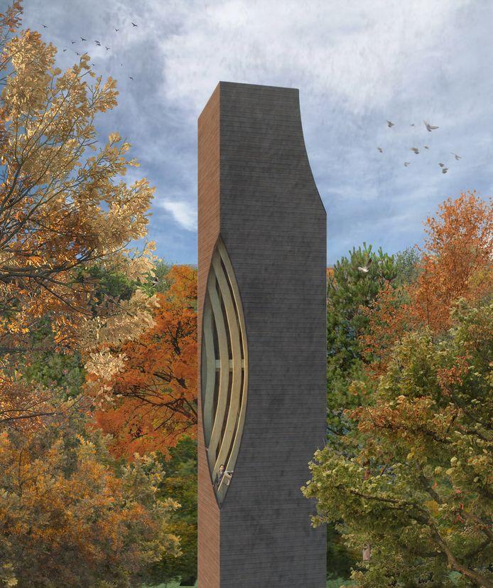 Artist impression van de nieuwe uitkijk-en vleermuistoren in bosgebied Einderheide in Riethoven.