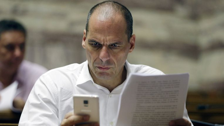 Yanis Varoufakis in het Griekse parlement. Beeld AP