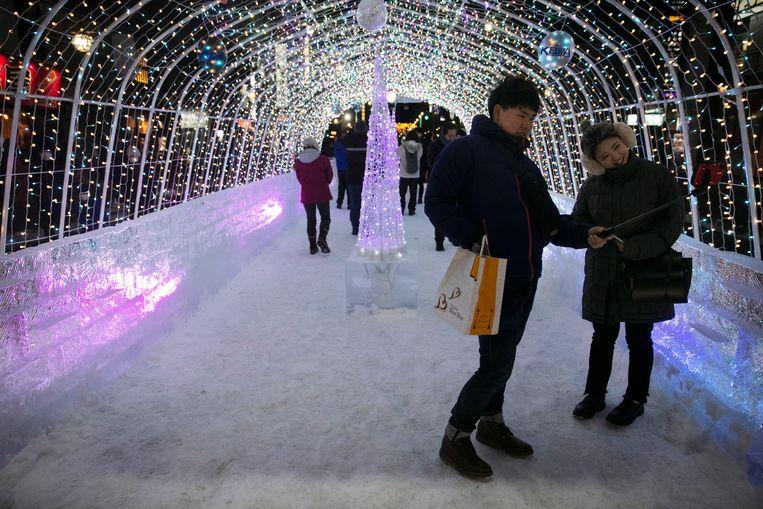 Het sneeuwfestival in Sapporo bleek de grote boosdoener voor de verspreiding van het virus. Beeld AP