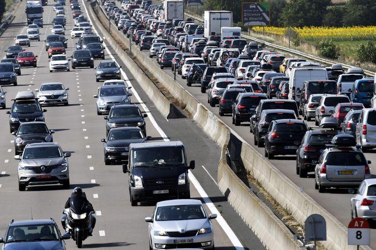 De A7, Autoroute du Soleil, in het zuiden van Frankrijk. Beeld afp