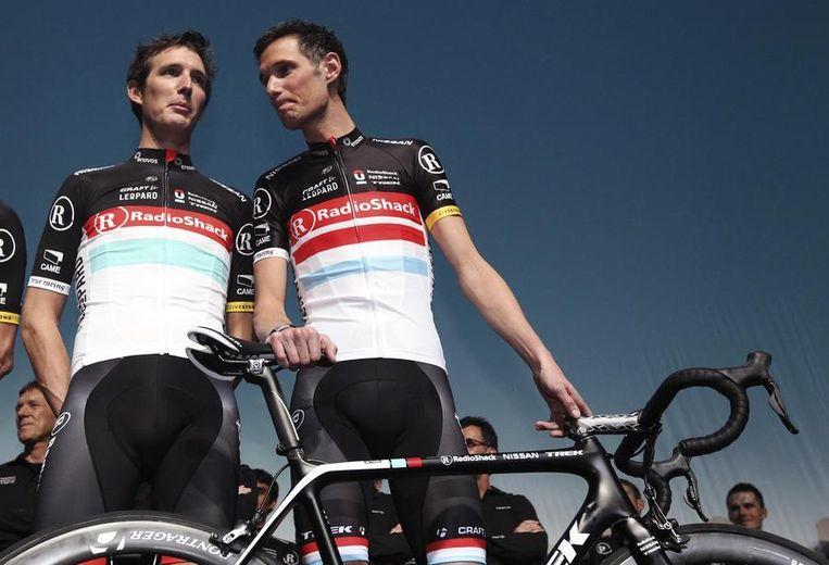 Andy (links) en Fränk Schleck. Beeld reuters