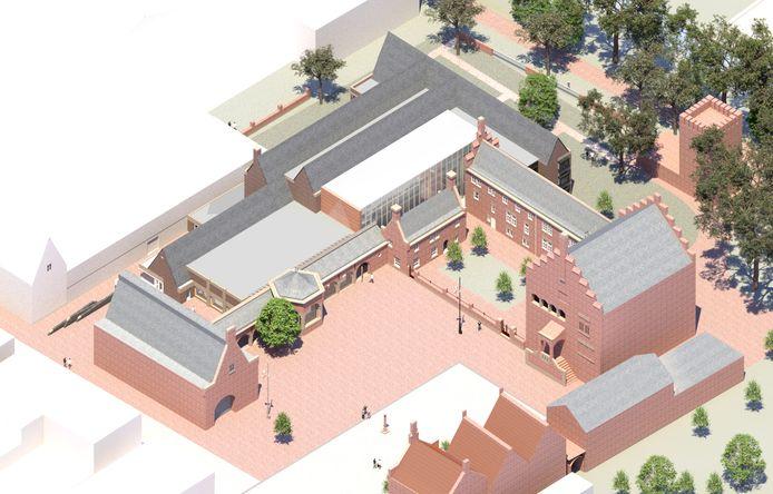 Een impressie van het toekomstige schoenenmuseum. Het gaat om de gebouwen links van het Raadhuisplein.