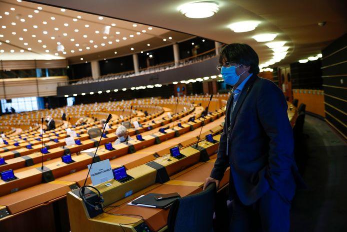 Puigdemont eerder in het Europees parlement in Brussel.