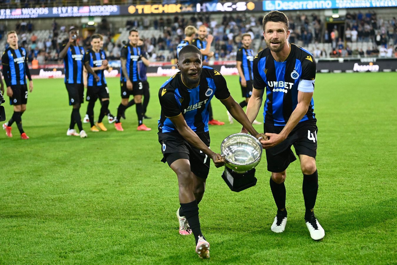 BRUGGE, BELGIUM - JULY 17 : Clinton Mata defender of Club Brugge and Brandon Mechele defender of Club Brugge celebrating winning the Supercup during the Pro League Supercup match between Club Brugge and KRC Genk at the Jan Breydel stadium on July 17, 2021 in Brugge, Belgium, 17/07/2021 ( Photo by Nico Vereecken / Photo News  (Pro League Supercup, is a Belgian club competition played as a single match at the beginning of the saison between the Belgian First Division champions and the Belgian Cup winners)