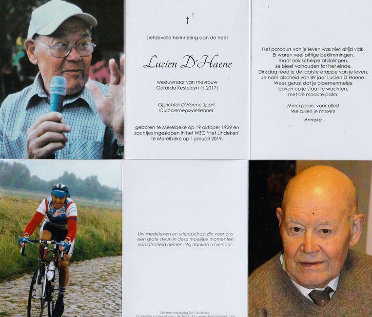 Het afscheidsprentje van Lucien D'€™Haene.