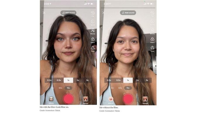 Le résultat du filtre sur le visage de la journaliste.