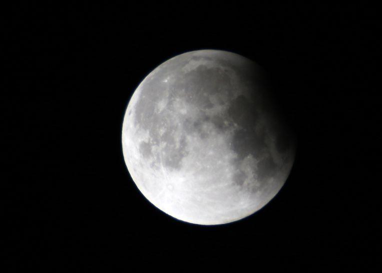 De maansverduistering zoals gezien vanuit Damascus, Syrië.