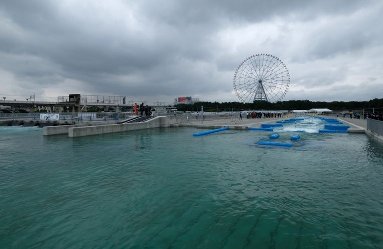 Het startwater voor de kano's bij het Kasai Canoe Slalom Centrum. Beeld Kazuhiro NOGI / AFP