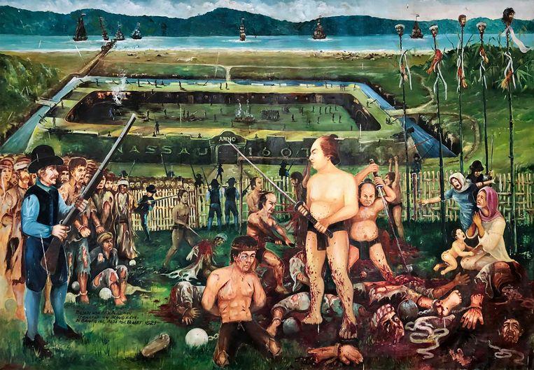 Dit schilderij (maker onbekend) hangt in museum Rumah Budaya op Banda Neira. Op Nederlands bevel werden de invloedrijkste Bandanese leiders buiten Fort Nassau in kooien gevangen gezet. Japanse beulen drongen op 8 mei 1621 binnen, ze doodden de acht leiders en hakten hun lichamen in vieren.  Beeld Rumah Budaya