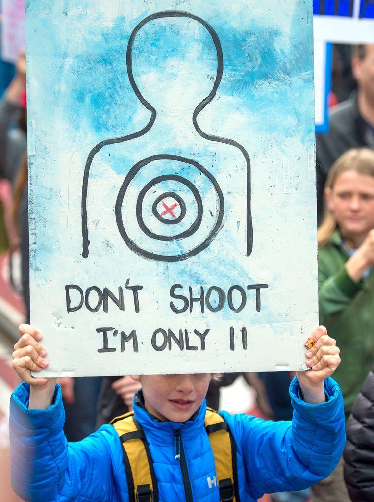 Tijdens de March for Our Lives in Washington op 24 maart.  Beeld AP