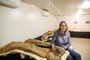 Robyn Mackenzie, van het Emoranga Natural History Museum, met botten van de Australotitan cooperensis.